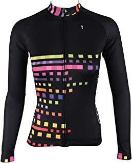 ILPALADINO Women's Cycling Jersey Long Sleeve Biking Shirts Squares Black