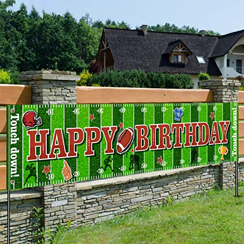 Football Birthday Party Decorations Happy Birthday Sports Themed Banner Sunday Game Day Sports Fan Birthday Party Supplies Boy Favors (70.8 x 15.7 Inch)