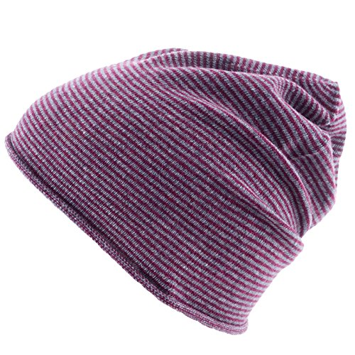 Really Nice Cashmere Eco Kaschmir Mütze - Curl Stripes Beanie Unisex Winter Strickmütze 100% Kaschmir Wolle violett/grau