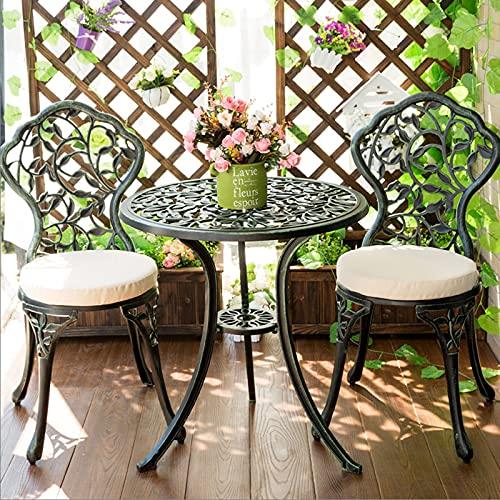 Set da 3 pezzi da esterno in ghisa di alluminio da esterno Mobili da giardino antiruggine, Combinazione di tavolo da chat e sedia con cuscino, Tavolo da pranzo e sedie da giardino resistente