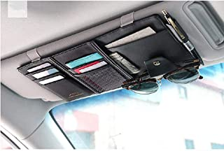 STHIRA® PU Leather Multi-Function Car Space Sun Visor Organizer Hanging Phone Storage Pouch Holde (Black)