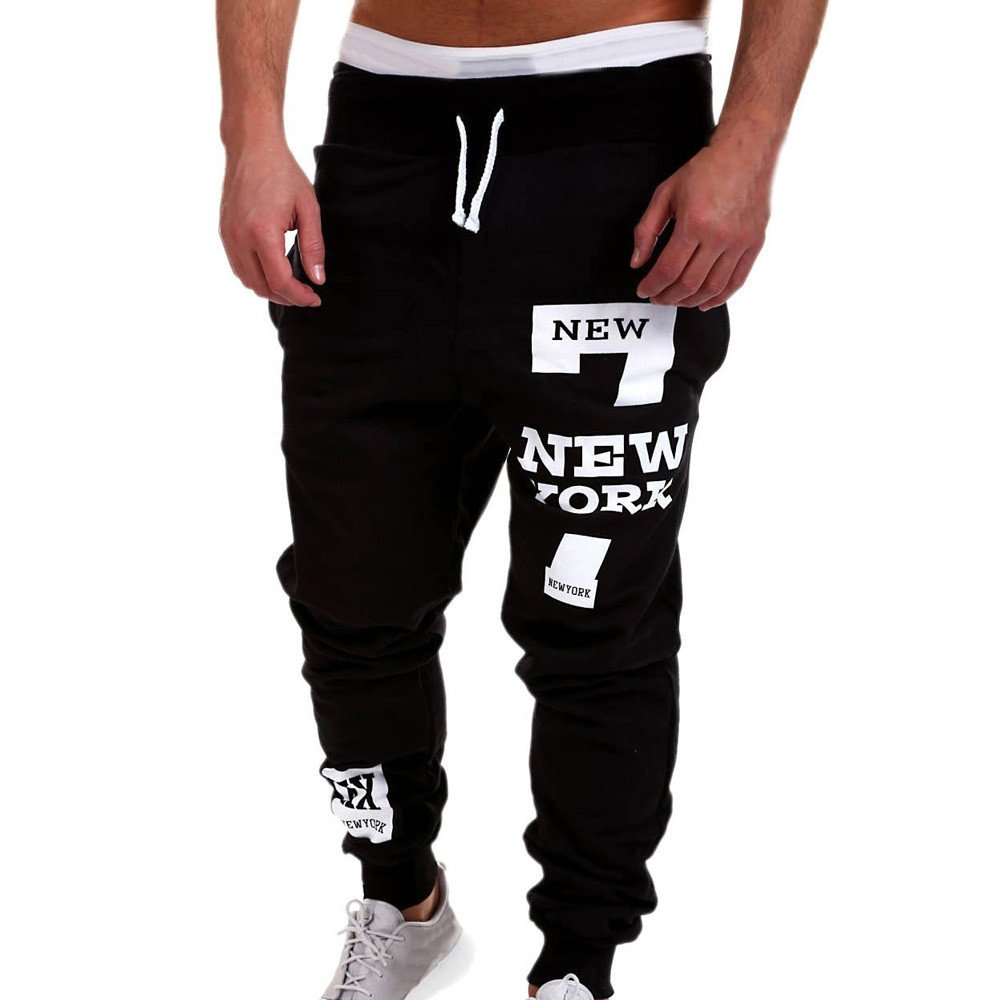Mens Trendy Trousers Balakie New York Letters Printed Pants Casual Sweatpants