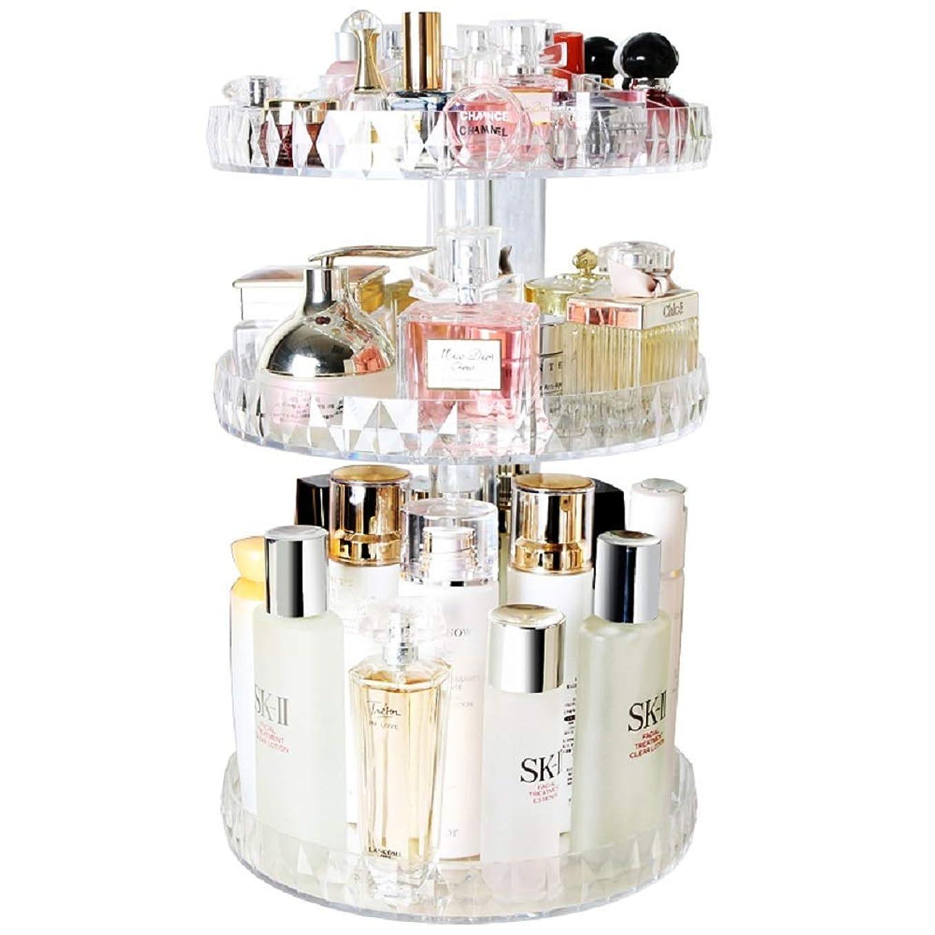 中級スケッチ主KitMall コスメ ボックス タワー型 大容量 回転式 360度 アクリル 透明 メイク道具 化粧品 収納 口紅 化粧水 ファンデーション (透明)