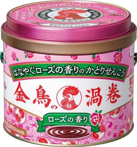 金鳥の渦巻 蚊取り線香 ローズの香り 30巻 缶