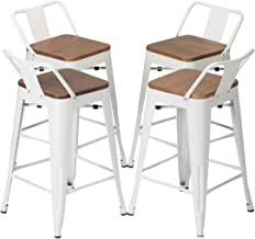 YongQiang Set of 4 Metal Barstools Home Kitchen Dining Counter Stool Low Back Bar Chairs with Wood Seat 26 inch White