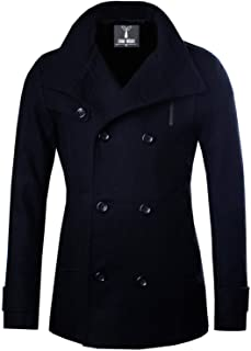 Sponsored Ad - TAM WARE Mens Classic Wool Double Breasted Pea Coat