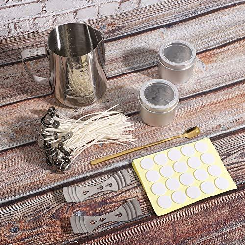 PLLO Edelstahlkerzen-Bastelset, Dochtaufkleber-Kerzenherstellungszubehör, Glaskerzen-Gießkanne für handgefertigte DIY-Modellierkerzen