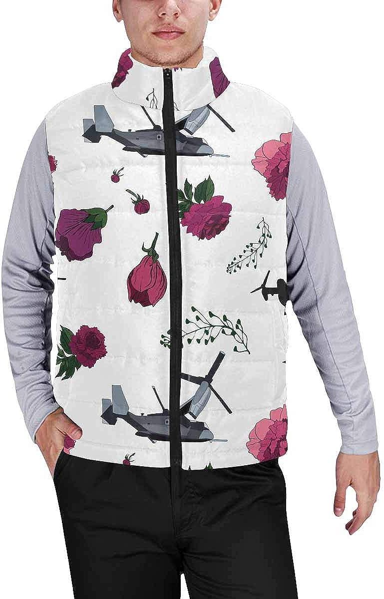InterestPrint Men's Full-Zip Soft Warm Winter Outwear Vest Roses and Mathematical Formulas