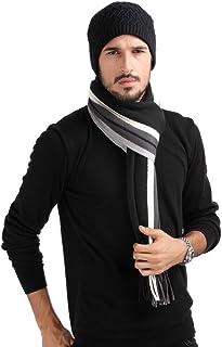Mansy Mens Classic Cashmere Shawl Winter Warm Long Fringe Striped Tassel Scarf