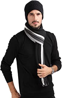 Mansy Mens Classic Cashmere Shawl Winter Warm Long Fringe Plaid/Striped Tassel Scarf