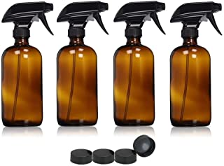 SODIAL 4 Pieces 500ml Empty Glass Spray Bottles Trigger Water Sprayers Atomiser Oil Bottle Dispenser Container brown