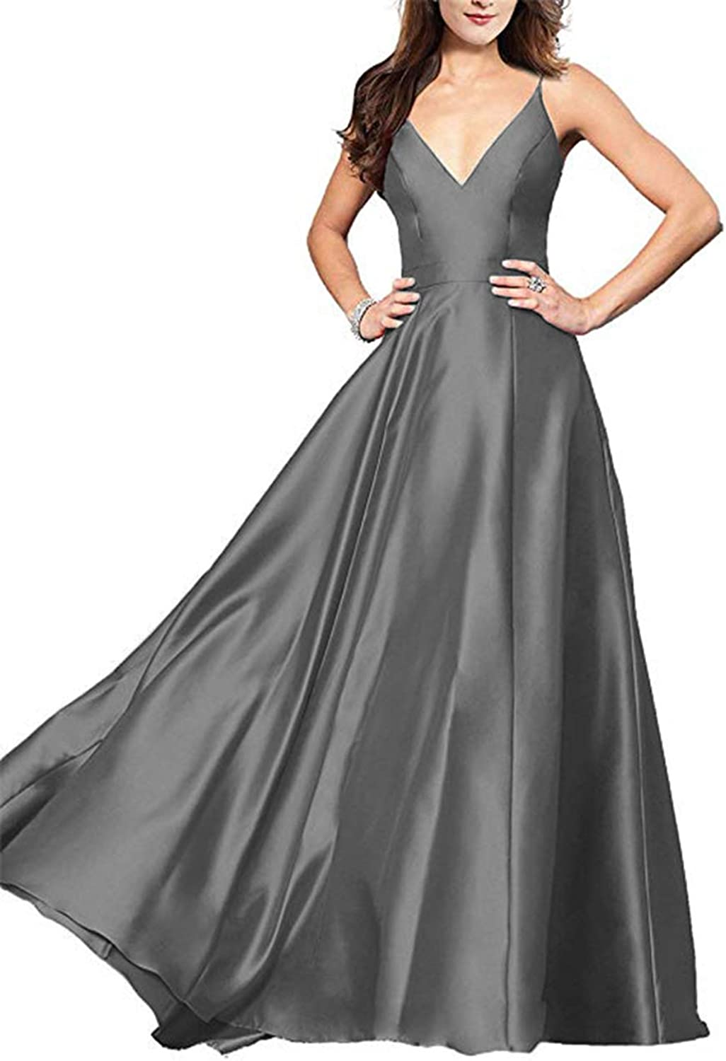 Alilith.Z Sexy Spaghetti Strap Satin Prom Dresses 2019 Long Evening Dresses Formal Party Ball Gowns for Women