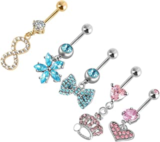 Dangle Belly Button Rings for Women Girls Navel Rings Curved Barbell Body Jewelry Piercing