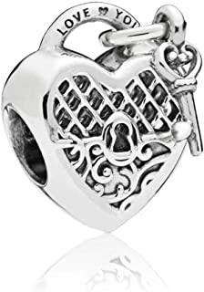 Love You Lock Sterling Silver Charm Key to My Heart Bead for Pandora Bracelets/White