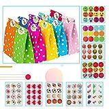 Eyscoco Papiertüten, 40er Set Geschenktüten Papiertüten Candybar Tüten mit 120 Aufkleber for Kindergeburtstag Mitgebsel Geburtstagsfeier...