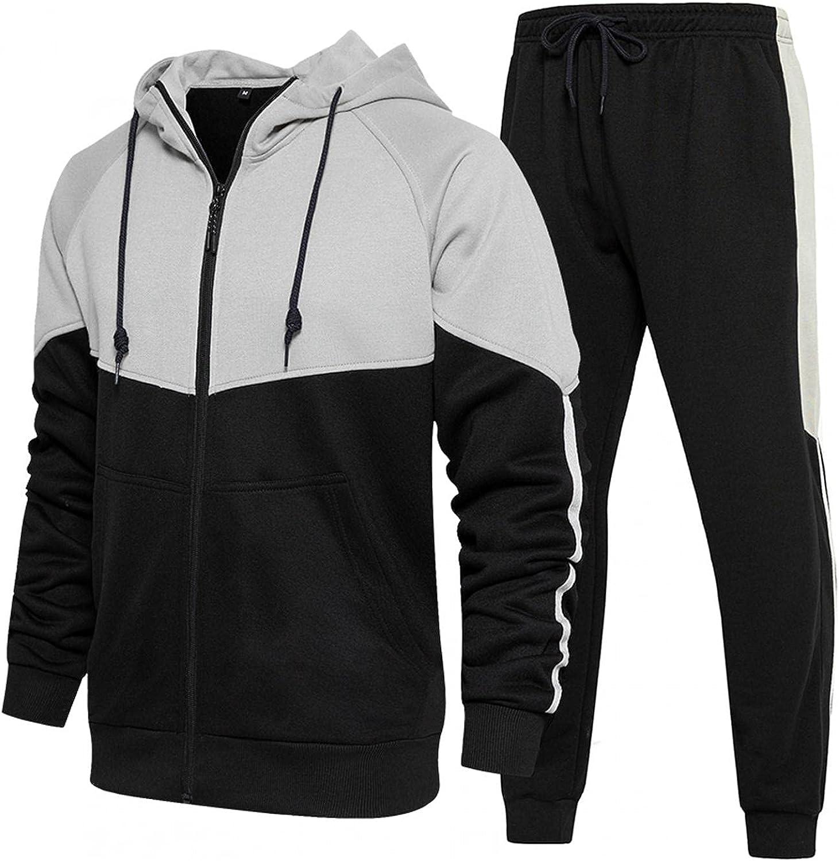 VEKDONE Men's Tracksuit 2 Piece Set Camouflage Sweatshirt Jogger Sweatpants Solid Patchwork Sports Combat Clothing Suit