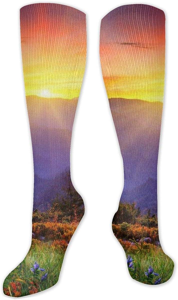 Bright Sunset Mountain Landscape Knee High Socks Leg Warmer Dresses Long Boot Stockings For Womens Cosplay Daily Wear