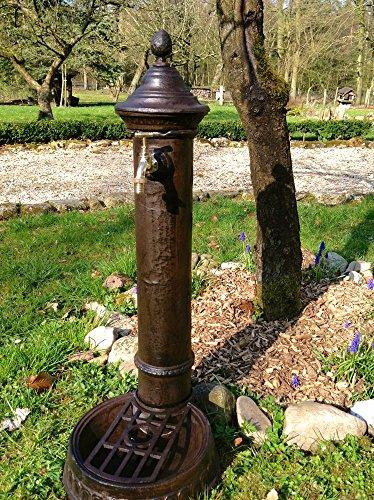 Antikas | Standbrunnen mit Messing-Hahn | Wasserzapfstelle | 72 x 26 x 31 cm | Aluminium