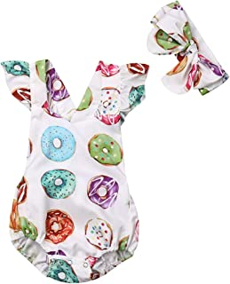 Lamuusaa Newborn Baby Girls Fly Sleeve Ruffled Romper Colorful Doughnut Bodysuit Jumpsuit Headband Summer Outfit 0-24M