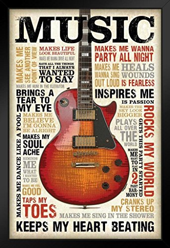 Music Inspires Me Motivational Inspirational Musical Quotes Guitar Black Wood Framed Art Poster 14x20