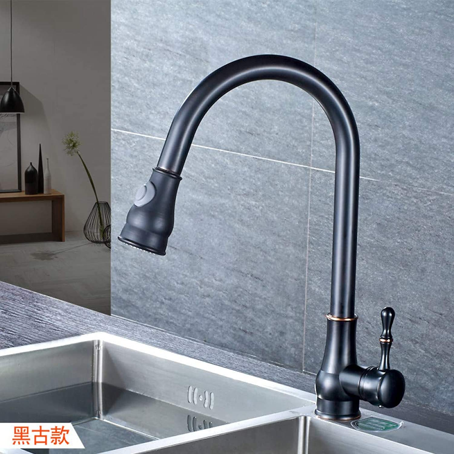 L22LW Faucet Pull-Down Kitchen Faucet-Copper Wash Dishes with A Basin of Two Chrome Black Swivel