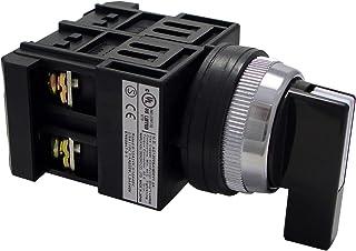 マルヤス電業 φ25セレクタSW(3ノッチ)レバー形(黒色)右自動復帰 左右b接点 (1段目・2段目 ON-ON-ON)   A25ST3R0022B