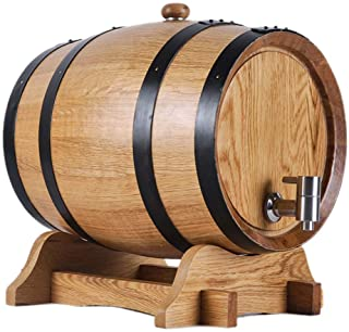 Tonneau à vin en Bois Seau de Vieillissement en Chêne de 5 litres, Fût de Vin en Chêne avec Support pour Vinification Ou S...