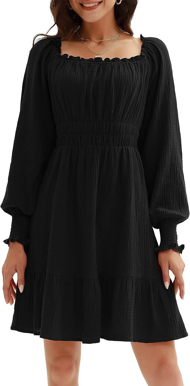 CURLBIUTY Womens Ruffle Square Neck Dress Lantern Sleeve Flowy A Line Dresses