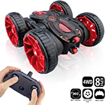RC Cars, Remote Control Car Toy Vehicle 4WD 2.4Ghz 8 Mph Racing Stunt Car Double Sided 360°Rotation & Flips, Kids Toy Car for Boys & Girls Birthday Christmas - Red Color