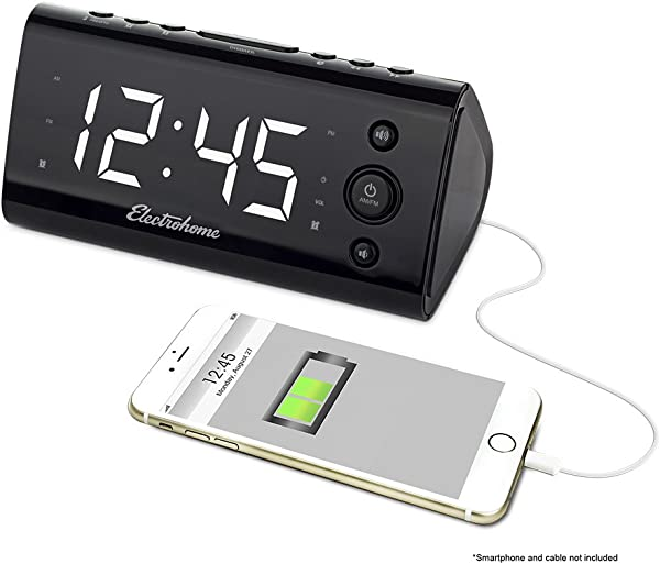 Electrohome Alarm Clock Radio With USB Charging For Smartphones Tablets Includes Dual Alarm Battery Backup Auto Time Set 1 2 LED Display With 4 Dimming Options EAAC470W