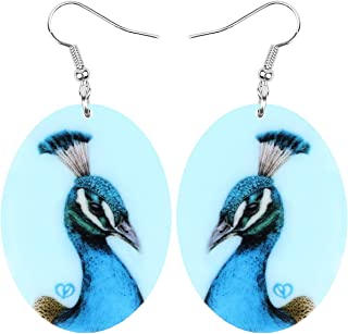 Bonsny Big Dangle Ellipse Blue Elegant Peafowls Earrings Birds Fashion Jewelry For Women Girls
