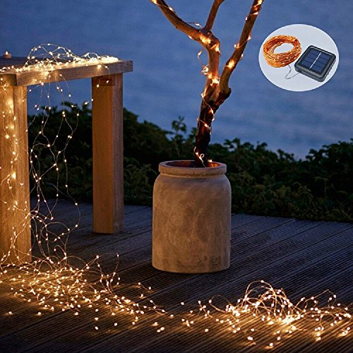 BHCLIGHT 2 Pack Each 72FT 200LED Solar String Lights, Upgraded Super Durable Solar Lights Outdoor, Waterproof Copper Wire 8 Modes Fairy Lights for Home Decor Patio Garden Party (Warm White)