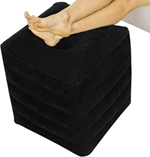 Xtra-Comfort Inflatable Ottoman - Foot Rest Cushion Support Pillow for Office Desk, Airplane Travel, Car, Camping, Kids, Adult - Ergonomic Height Adjustable, Sleep Seat - Leg Elevation with Hand Pump