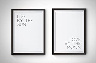 Live by the Sun, Love by the Moon, Print Large 11 x 14 Inch, Minimalist Art, Typography Art, Yoga Wall Art, Relaxation Gifts, Home Wall Art, Poster UNFRAMED