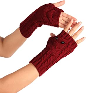PASATO Winter Solid Wrist Arm Hand Warmer Knitted Long Fingerless Gloves Hole Warm Gloves Mittens for Women