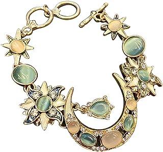 Cosanter Naturelles 8mm Opale Pierres Bracelet Femme pr/écieuses de gu/érison avec Cristal Bangle en Perles Alliage Bracelet Saint Valentin Cadeau