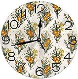 yunshenbuzhichu Horloge Murale Ronde décorative pour la Maison, Vintage Tropic Flower Leaves California Poppy pour Salon Bureau Chambre