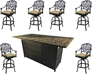 Sunvuepatio Fire pit dining table set outdoor propane heater Elisabeth bar stools cast aluminum furniture.