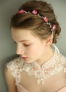 FXmimior - Tiara da sposa floreale elegante ed vintage, con fiori e perle, accessorio per capelli per matrimonio (rosa)