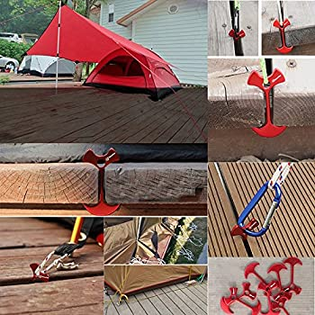 Bytiyar 8 pcs Aluminium Alloy 3 inch Fishbone Tent Stakes Deck Anchor Pegs Rope Buckle Hook Cord Adjuster Tensioner Kit for Camping on Wood Platform Black Red