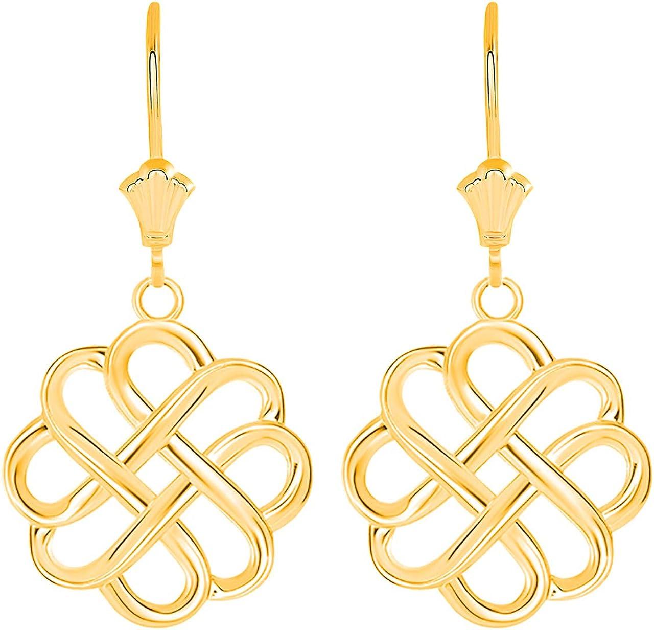 Certified Gold Endless Love 特売 《週末限定タイムセール》 Good Luck Knot Dangle Irish Celtic E