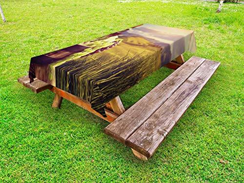 ABAKUHAUS Wijn Tafelkleed voor Buitengebruik, Italië Toscane Wijngaard, Decoratief Wasbaar Tafelkleed voor Picknicktafel, 58 x 84 cm, Groen Zwart Bruin