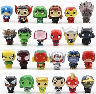 24 Pieces Mini Superhero Cake Toppers - Super Hero Cake Decorations, Home Decoration - Titan Hero Sculpture Worth Collecti...
