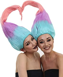 Troll Twin Wigs, Couple Set (Two Wigs Included), Multicolored Adult and Kids Sizes