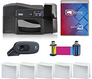 Fargo DTC4500e Dual Sided ID Card Printer & Complete Supplies Package with Silver Edition Bodno ID Software