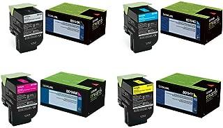 Lexmark 80C1HC0, 80C1HK0, 80C1HM0, 80C1HY0 High Yield Toner Cartridge Set (BND00484)