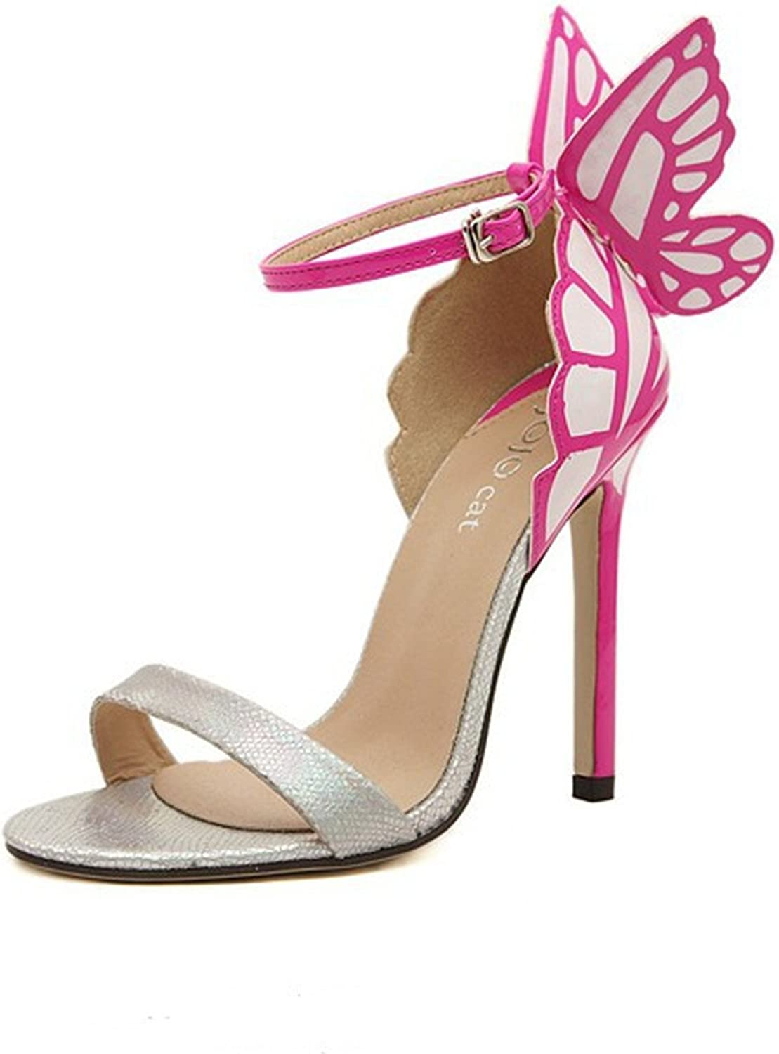 Robert Westbrook Women Wedding High Heels colorful Butterfly Heeled Sandals Pumps Bow Patry shoes Woman Bridal Pumps Silver 7.5