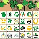 24 Pieces St. Patrick's Day Painting Stencils Shamrock Clover Painting Templates Reusable Plastic Drawing Stencils for Craft Window Glass Wall Door Card Scrapbook Notebook Holiday Art (4 x 4 Inch)