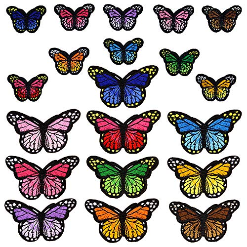 Jixista Patches zum aufbügeln Schmetterling Bestickt Patches Aufkleber Patch DIY Niedlich Aufkleber Patch Stickerei 20pcs für DIY T-Shirt Jeans Kleidung Taschen Flicken Patches Jeans Kleidung Patches