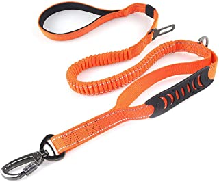 Misthis 4-6FT Bungee Dog Leash for Walking Running Training,Heavy Duty Dog Leash with Highly Reflective Threads and Buffer for Medium and Large Dogs,Durable Car Seat Belt